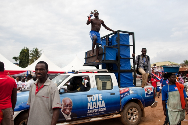 NPP campaign truck at a rally in Adentan-Ghana. October 20, 2016. Photo: Francis Kokoroko