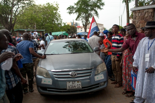 NPP leaders arrive at the private residence of presidential aspirant, Nana Akufo-Addo ahead of the official Electoral Commission declaration of election results. Nima-Ghana. December 8, 2016. Photo; Francis Kokoroko