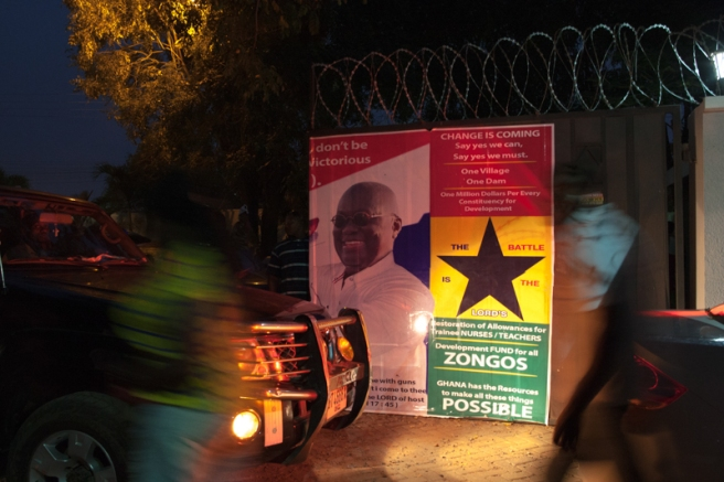 Supporters at the private residence of NPP presidential hopeful Nana Akuffo-Addo ahead of the official Electoral Commission declaration of election results. Accra-Ghana. December 8, 2016. Photo; Francis Kokoroko
